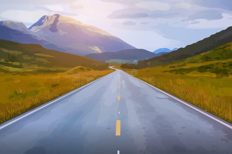 заход солнца дороги высокой светлой перспективы контраста красный бесплатная иллюстрация