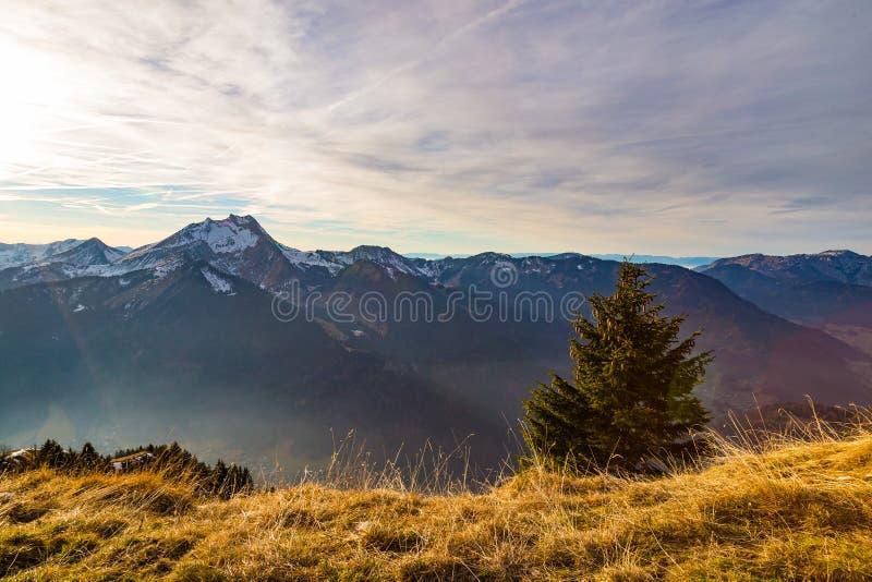Заход солнца осени над травянистой стороной горы стоковые фото