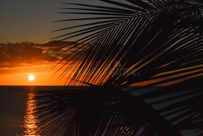 Заход солнца острова Доминики стоковые изображения