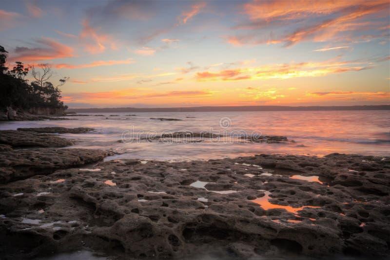 Заход солнца от пляжа Мюррея стоковое изображение rf