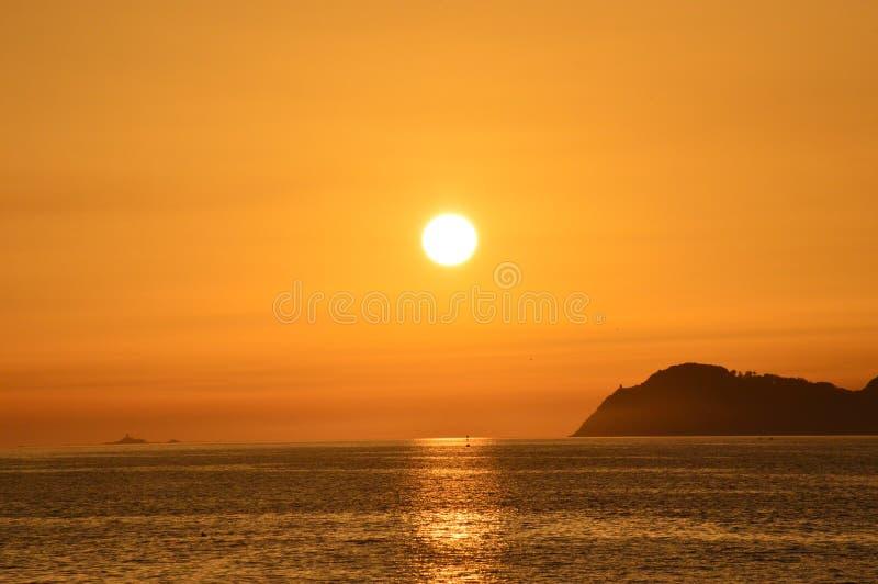 Заход солнца от пляжа стоковая фотография rf
