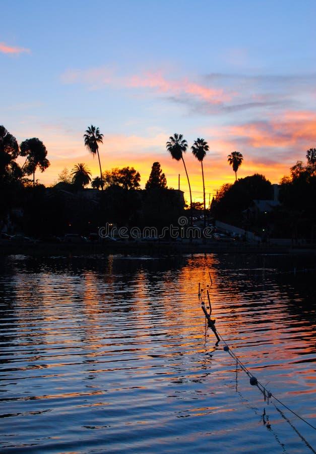 Заход солнца парка отголоска, Лос-Анджелес стоковые изображения