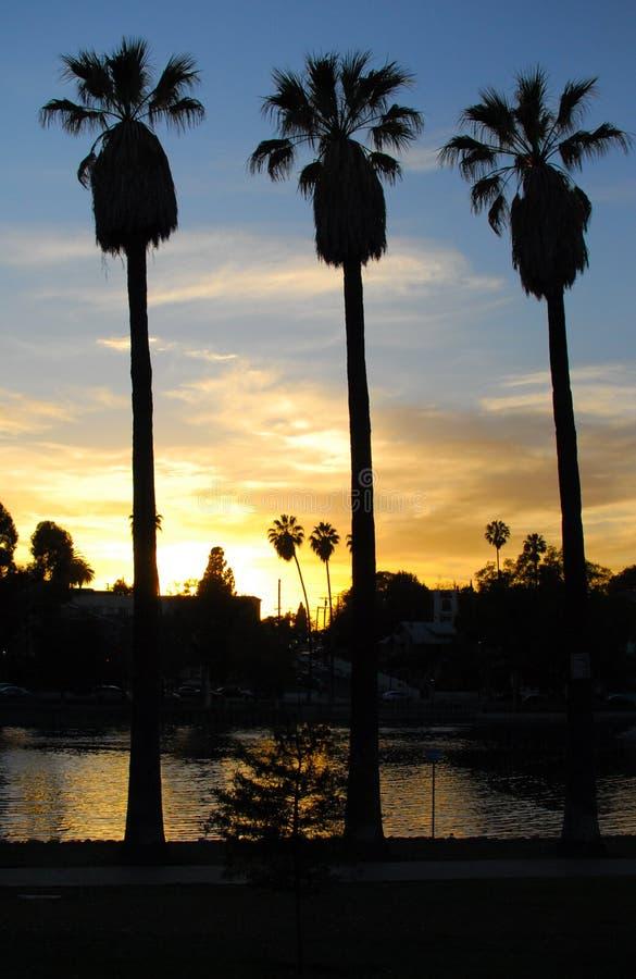 Заход солнца парка отголоска, Лос-Анджелес II стоковое изображение