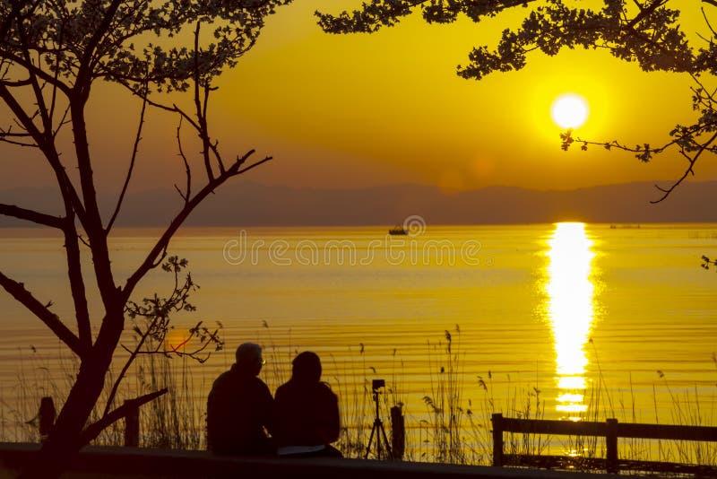 Заход солнца парка Японии Feng стоковая фотография rf