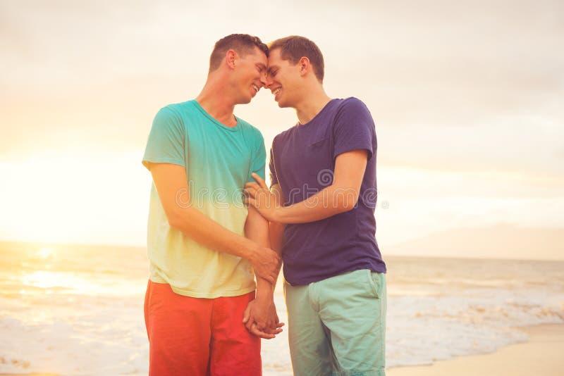 Заход солнца пар гомосексуалиста наблюдая стоковое изображение
