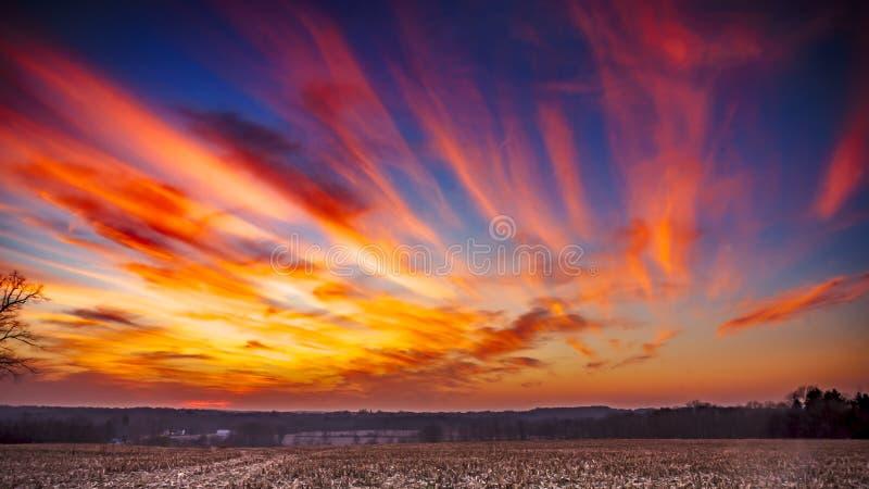 Заход солнца падения стоковое изображение