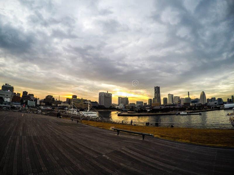 Заход солнца порта Yogohama стоковые фотографии rf