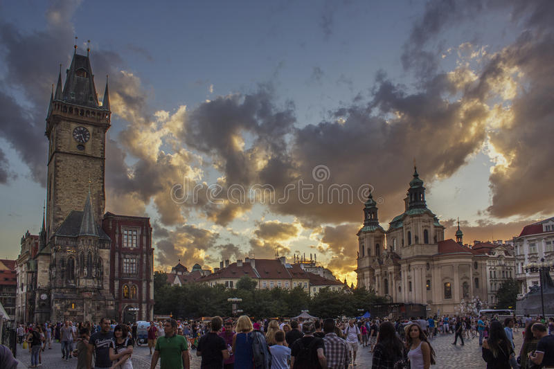 Заход солнца Праги стоковое изображение