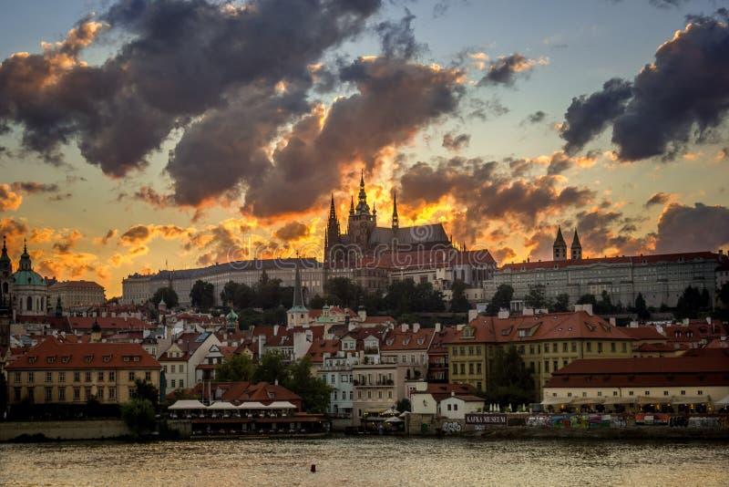 Заход солнца Праги стоковое фото rf