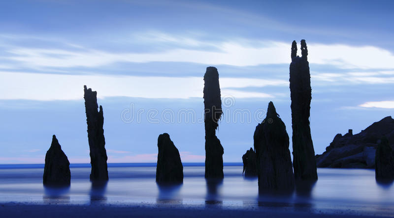 Заход солнца призраков океана стоковое изображение