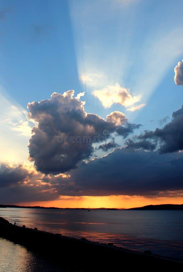 Заход солнца причала стоковые фотографии rf