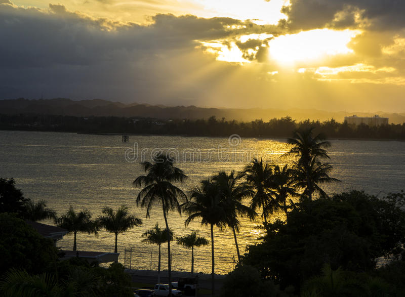 заход солнца Пуерто Рико стоковое изображение rf