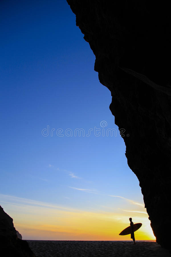 Заход солнца рая серферов стоковая фотография