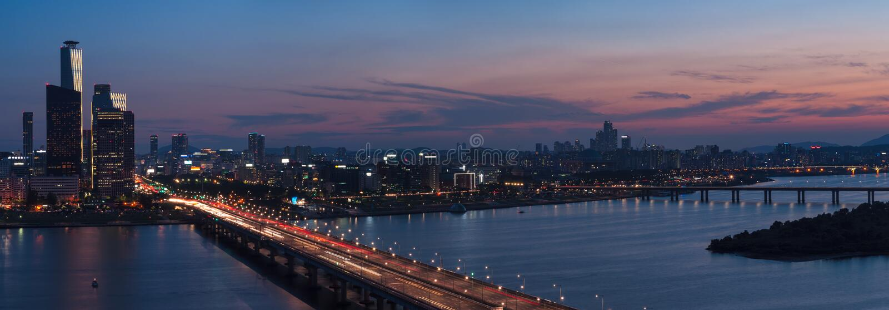 Заход солнца Сеула стоковая фотография rf