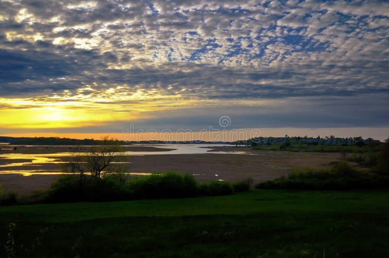 Заход солнца сельской местности стоковое фото rf