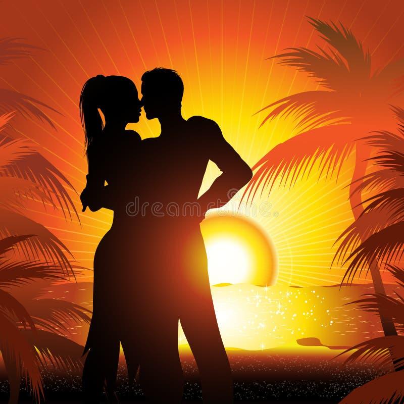 заход солнца силуэта пар пляжа иллюстрация вектора