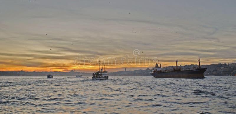 Заход солнца Стамбула стоковое фото