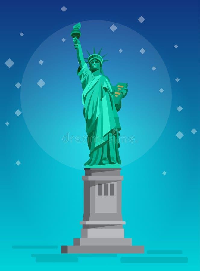 заход солнца статуи newyork вольности города США иллюстрация штока