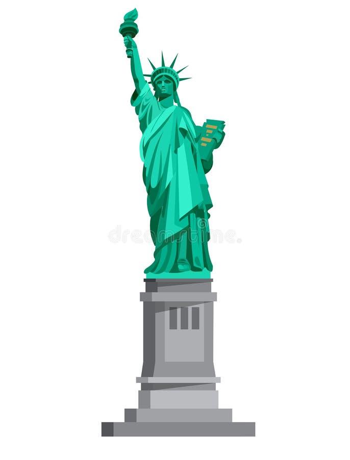 заход солнца статуи newyork вольности города США иллюстрация вектора