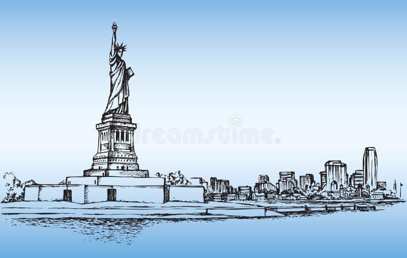 заход солнца статуи newyork вольности города Эскиз вектора иллюстрация вектора