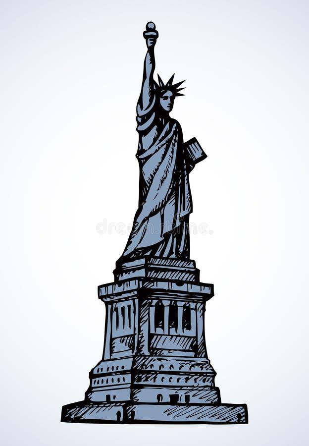 заход солнца статуи newyork вольности города Эскиз вектора иллюстрация штока