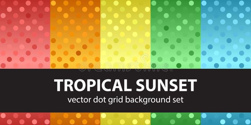 Заход солнца точечного растра польки установленный тропический иллюстрация вектора