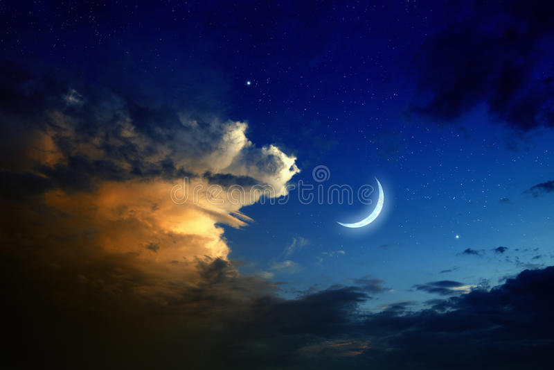 Заход солнца, луна, звезды стоковые фотографии rf