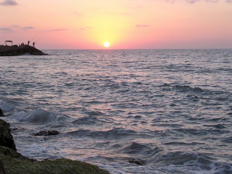 Заход солнца Хайфы над морем 2003 стоковая фотография rf