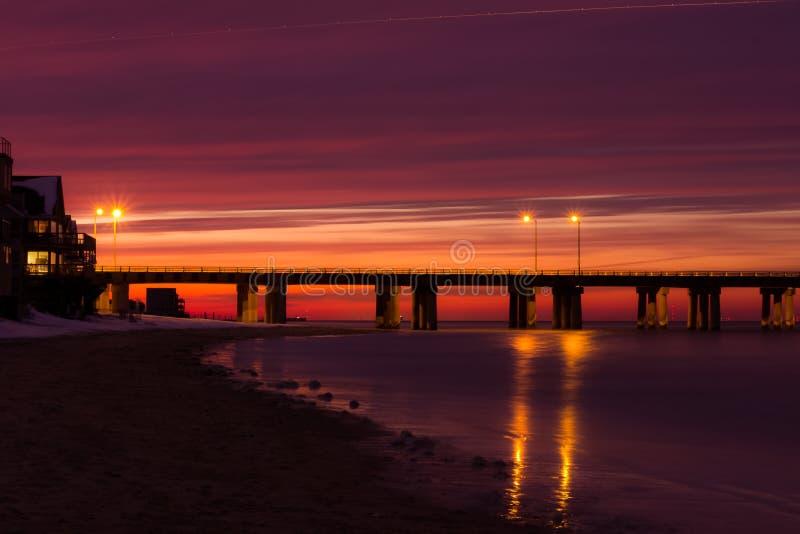 Заход солнца чесапикского залива стоковые изображения rf