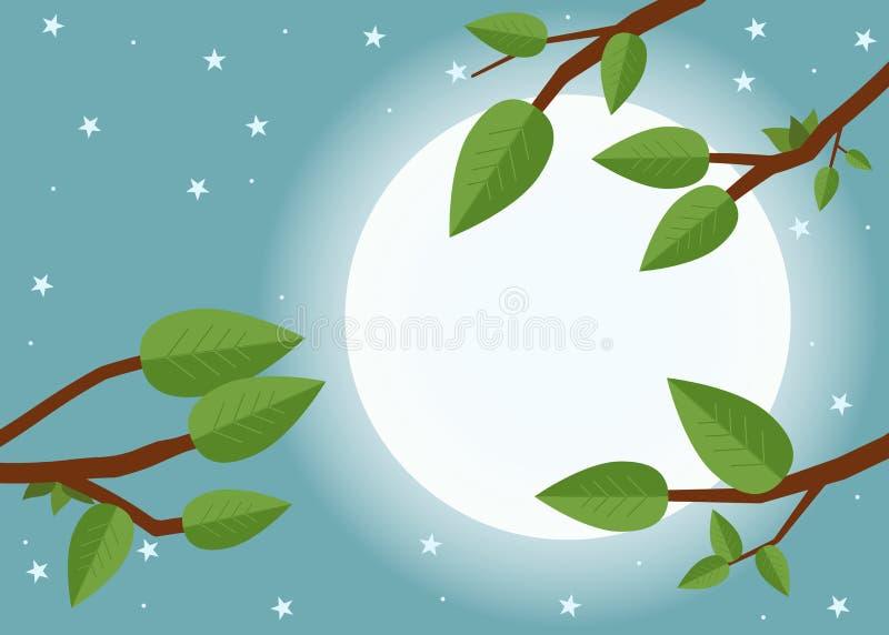 Заход солнца шаржа Плоская иллюстрация вектора, деревья, лист, луна и иллюстрация вектора