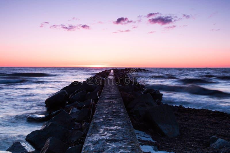 заход солнца Швеция моря стоковые фото