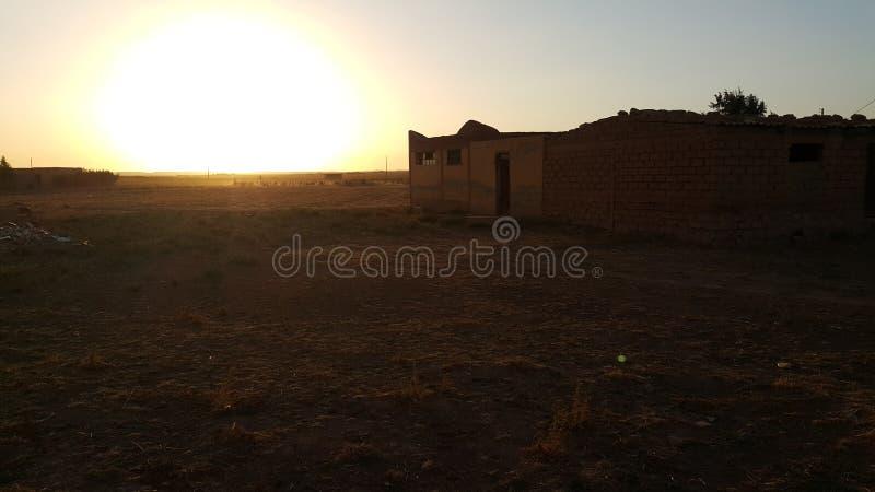 заход солнца дюн Дубай пустыни стоковое фото