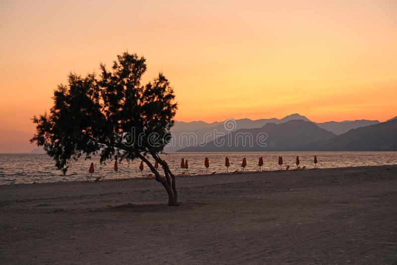 Заход солнца ясности Крита стоковое изображение