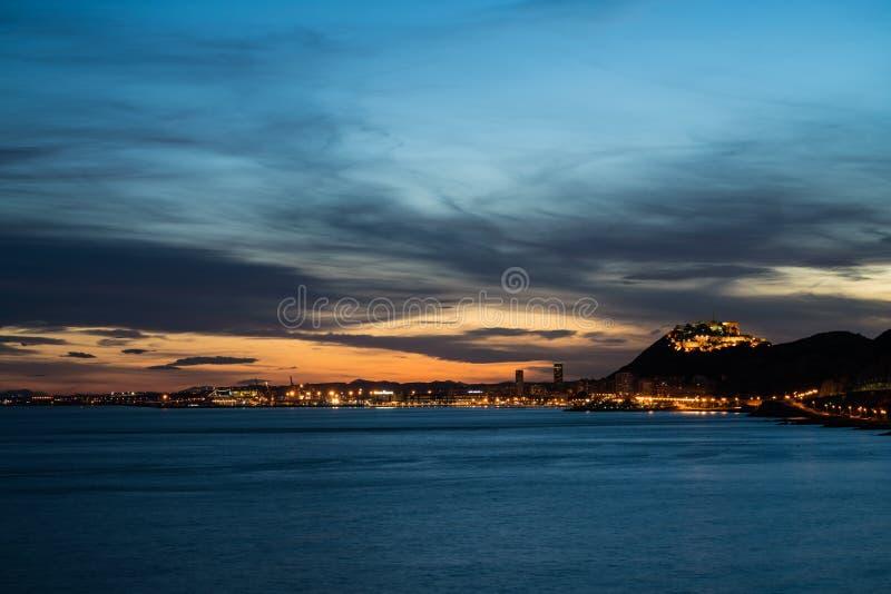 Заход солнца Albufereta большой стоковая фотография