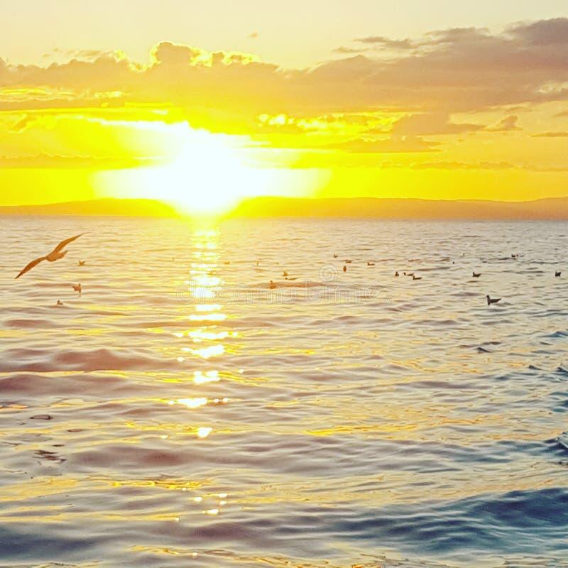 Заход солнца Arran стоковое изображение