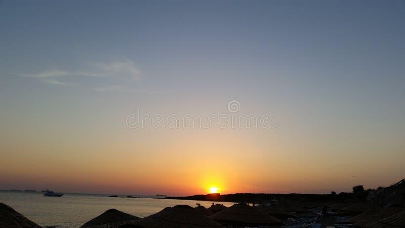 Заход солнца bozcaada Canakkale стоковые изображения rf