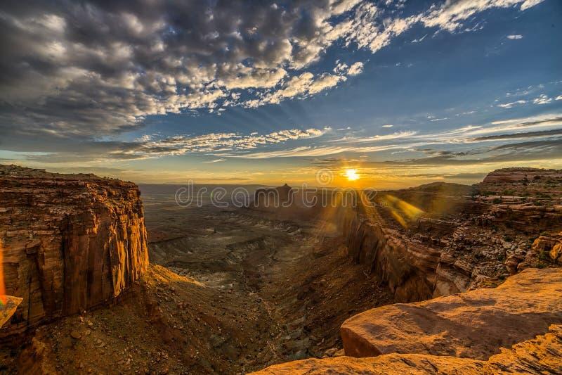 Заход солнца Canyonlands стоковые фотографии rf