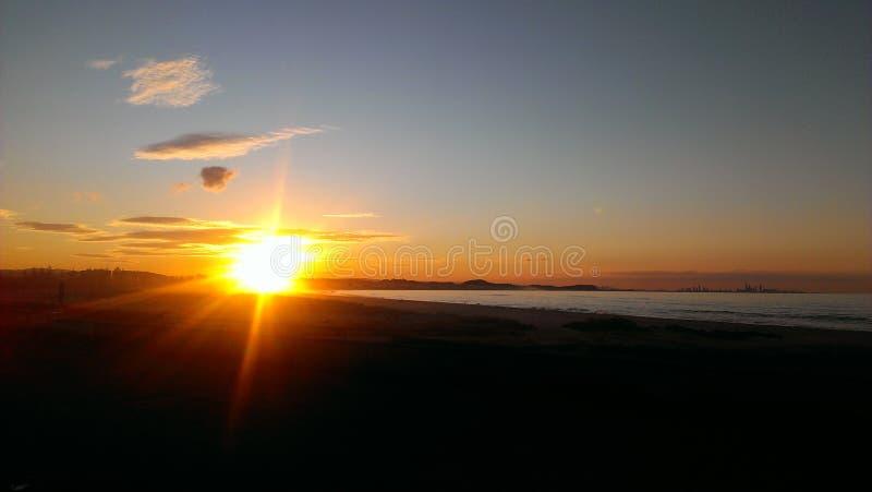 Заход солнца Gold Coast стоковое изображение rf