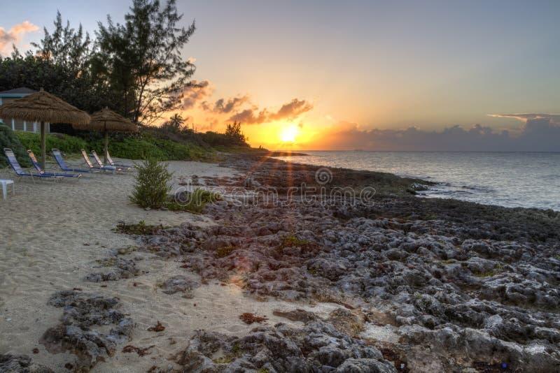 Заход солнца Grand Cayman стоковое изображение