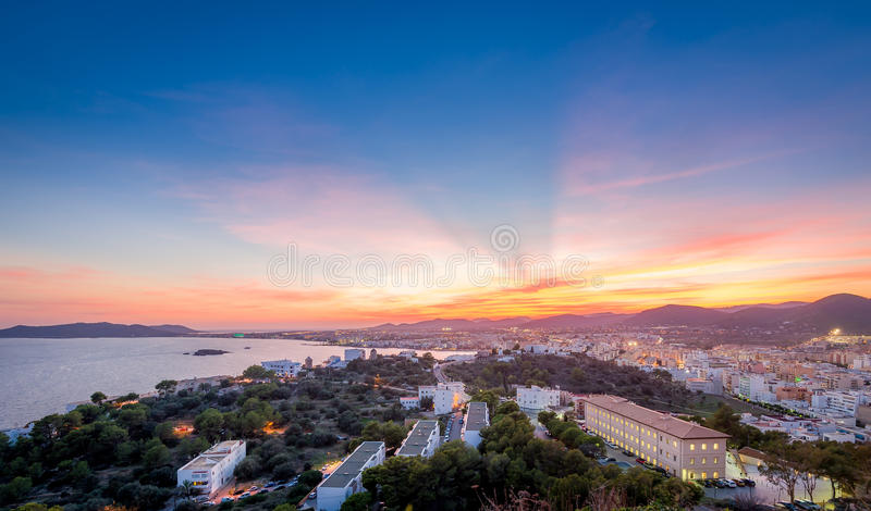 Заход солнца Ibiza стоковая фотография rf