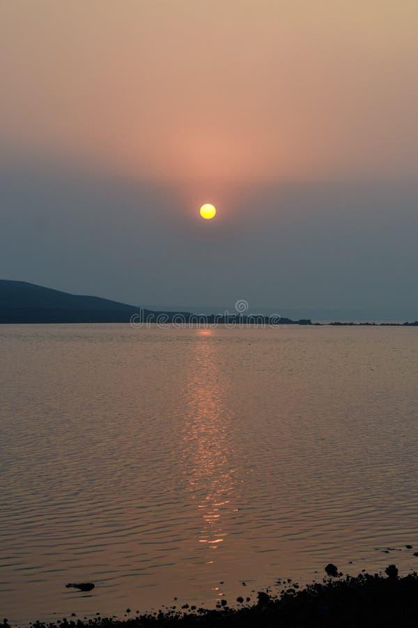 Заход солнца, Karjat стоковое фото