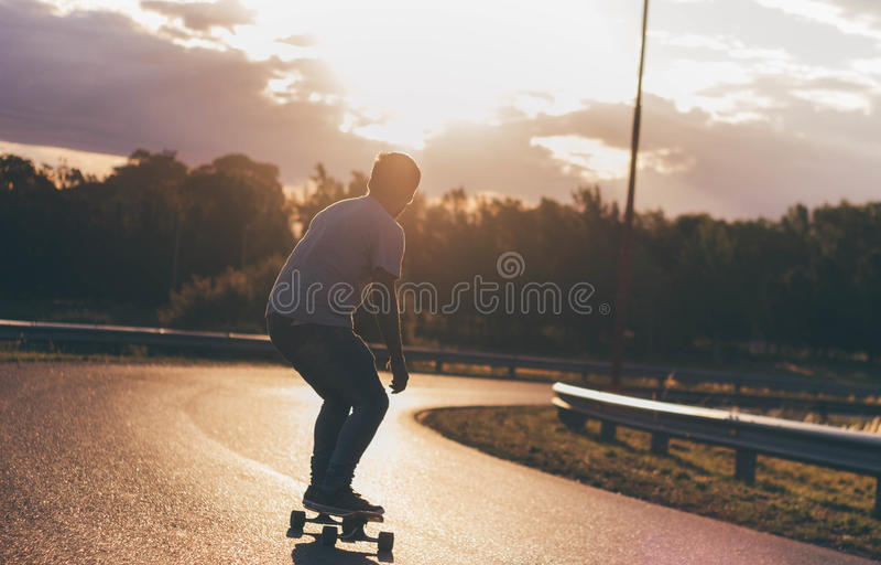 Заход солнца Longboard стоковые фотографии rf