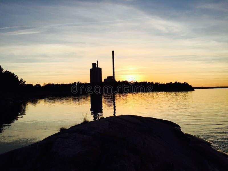 Заход солнца Marviken стоковые изображения rf