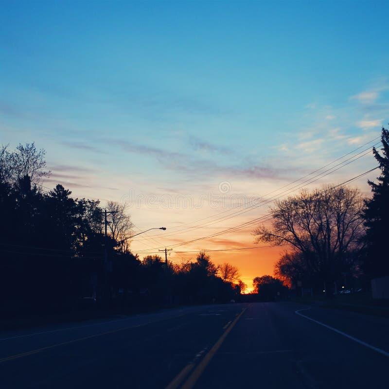 Заход солнца MN стоковое изображение