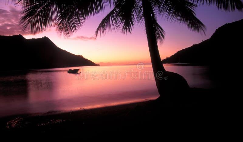Заход солнца Moorea Таити залива Opunohu стоковое фото