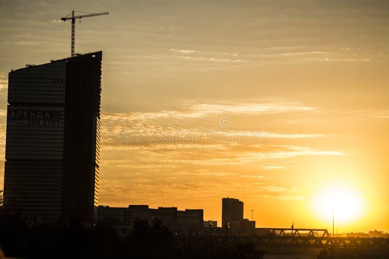 заход солнца moscow стоковое изображение rf