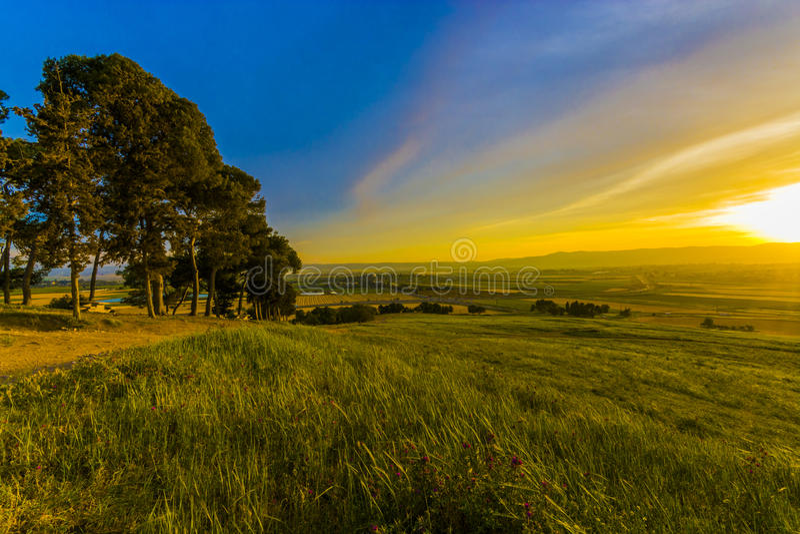 Заход солнца Nahalal стоковое изображение