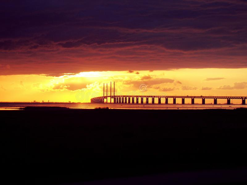 Заход солнца Oresund стоковые фотографии rf
