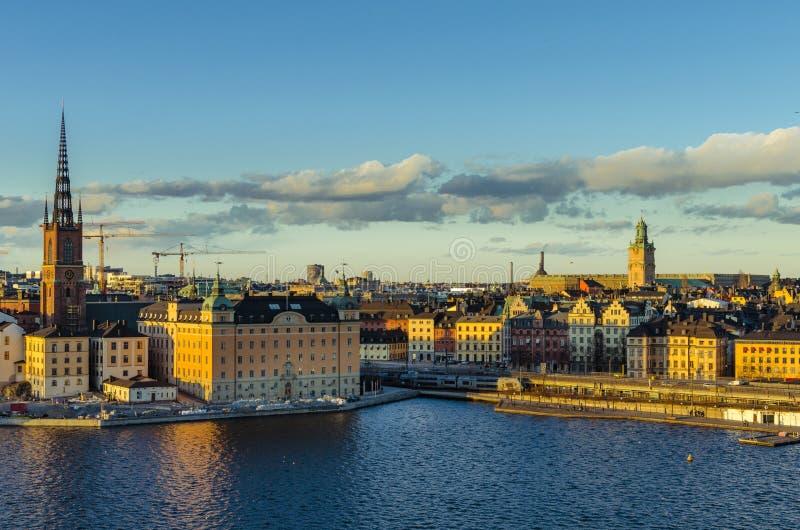 заход солнца stockholm стоковое фото rf