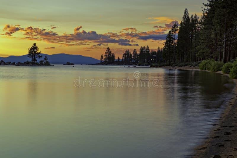 Заход солнца Tahoe стоковые изображения rf